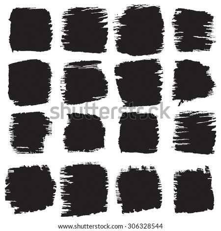 Vector grunge brush strokes backgrounds set, rectangle and square, for text. Distress texture, isolated, black on white. Used as banners, labels, badges, frames templates.  - stock vector