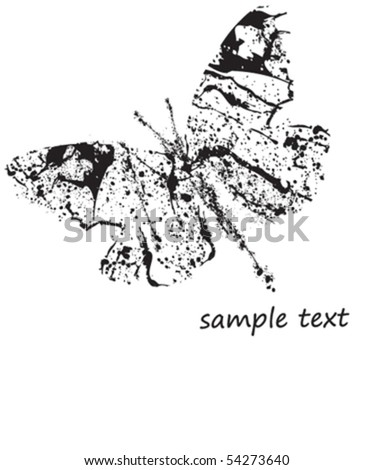 vector grunge butterfly - stock vector