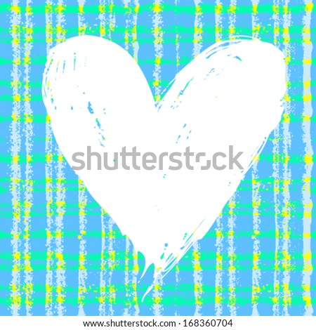 Vector grunge card with hand painted heart shape on plaid background in blue color. Template for St. Valentines day card, romantic wedding invitation, promotion coupon of gift for two - stock vector
