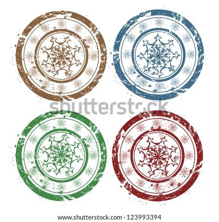 Vector grunge Christmas snowflakes stamps - stock vector