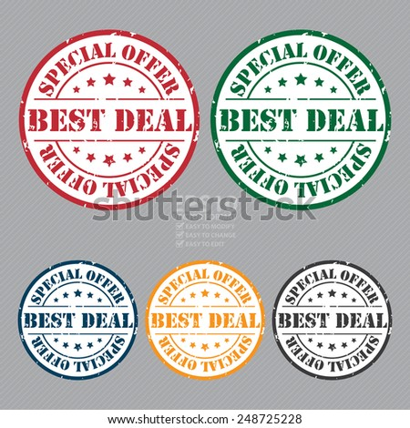 Vector : Grunge Circle Best Deal Special Offer Stamp, Icon, Label or Sticker - stock vector