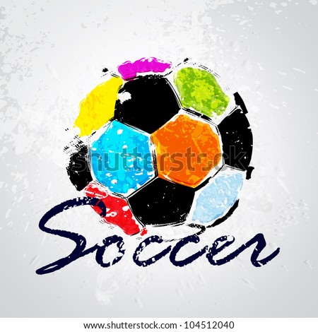 Vector Grunge Color Full Soccer Ball - stock vector