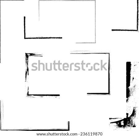 Vector Grunge Corner Collection . Set of Grunge Elements for your Design . - stock vector