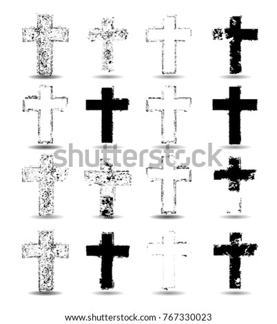 Vector Grunge Crosses Collection .