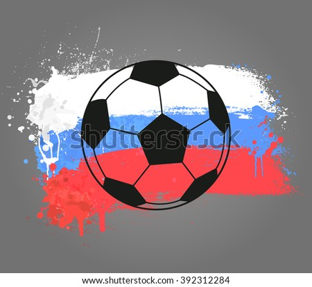 Vector grunge design banner with abstract flag of Russia and silhouette of soccer ball. Stylish sport banner - stock vector