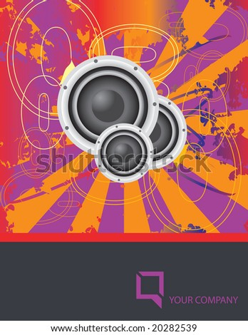 Vector grunge design layout with space open for your text; included stereo speakers