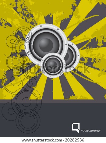 Vector grunge design layout with space open for your text; includes stereo speakers. - stock vector