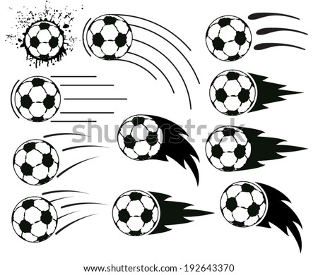 vector grunge designs of flying soccer and football balls - stock vector
