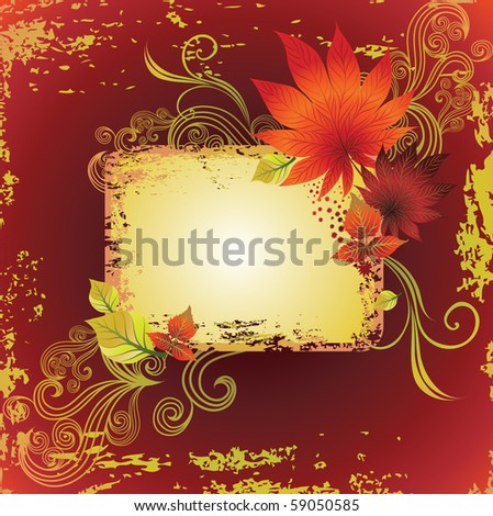 "Vector grunge frame with colorful autumn leafs. Thanksgiving (from my big ""Natural collection"")"