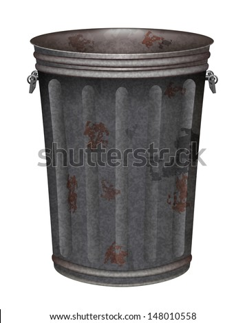 vector grunge garbage can on white background, eps10 file, gradient mesh and transparency used, raster version available - stock vector