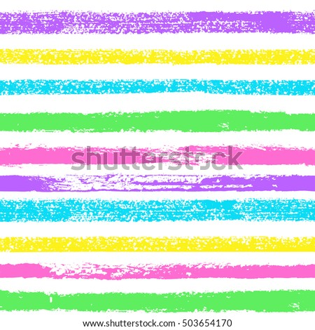 Vector grunge hand drawn colorful abstract stripe seamless pattern. Pop art ink fabric texture. Blue, purple, pink, yellow fashion abstract background in 80s-90s color cartoon style.