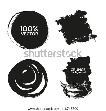 Vector grunge handmade black strokes- backgrounds painted by brush - stock vector