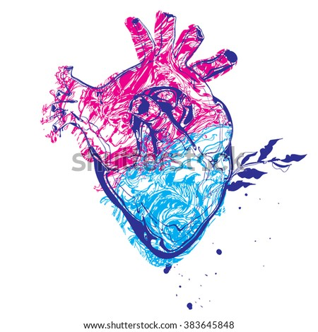 Vector grunge heart - stock vector