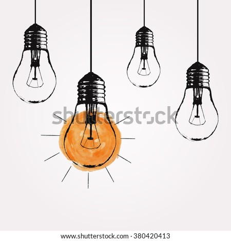 Vector Grunge Illustration With Hanging Light Bulbs And Place For Text Modern Hipster Sketch Style