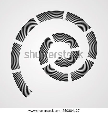 Vector Grunge Logo Design Template . Spiral Shape Cycle Creative Symbols . Wave Icon