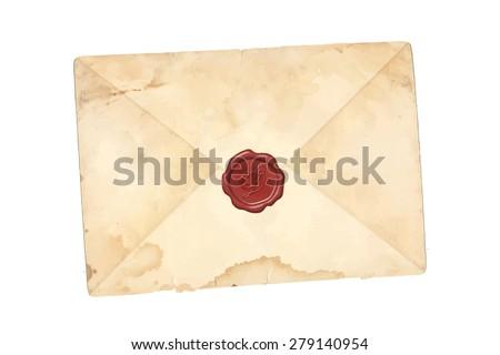 Vector grunge mail envelope - stock vector