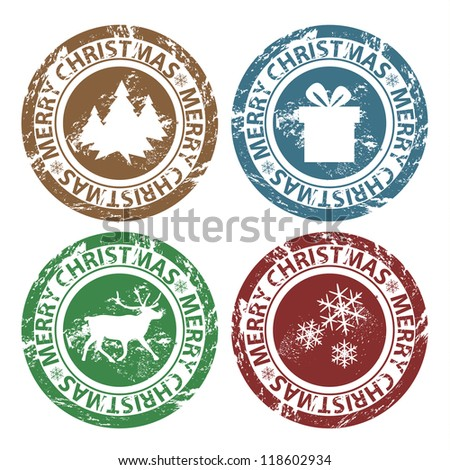 Vector grunge Merry Christmas stamps
