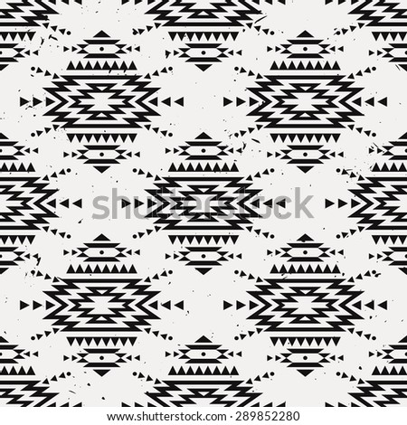 Vector grunge monochrome seamless decorative ethnic pattern. American indian motifs. Background with aztec tribal ornament. - stock vector