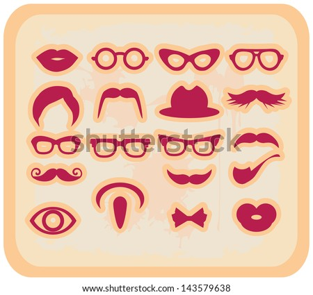 Vector grunge Mustaches and other Accessories Vector Set silhouettes
