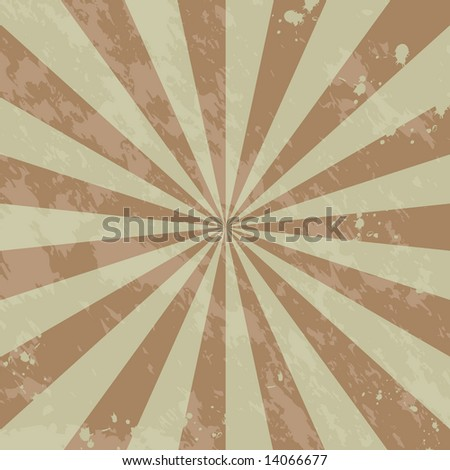 Vector grunge page background / wallpaper with sunburst, inksplatters, and distressing.