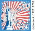 Vector grunge retro background with Statue Of Liberty and American Flag symbols - stock vector