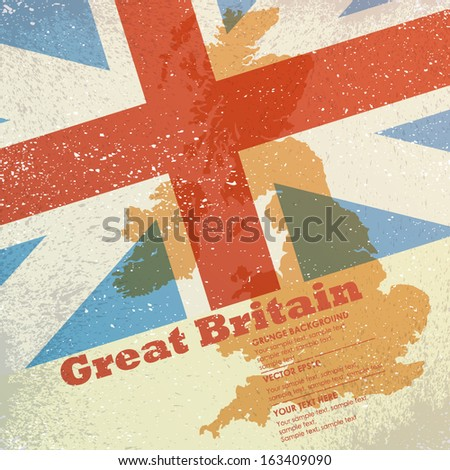Vector grunge retro design - Great Britain map on flag background - stock vector