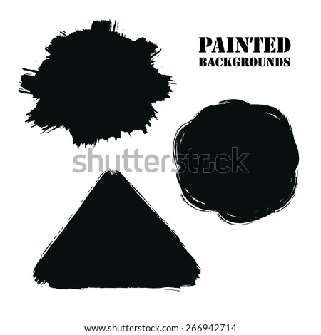 Vector Grunge Round, Triangle and Burst Backgrounds Set. Natural artistic banners painted with brush strokes for your text. Distress texture template, label, badge or frame, isolated, black on white - stock vector