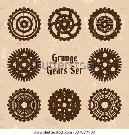 "Vector grunge rusty gears set in steam punk style. 8 steam punk cogwheels on grungy backdrop with text ""Grunge Gears Set"". Fully editable file for your projects. - stock vector"