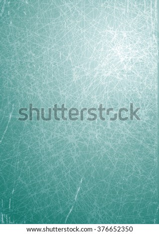 Vector grunge scratched texture, gray rectangular frame with stained, scratched surface, the cover of an old book, teal background, A4 - stock vector