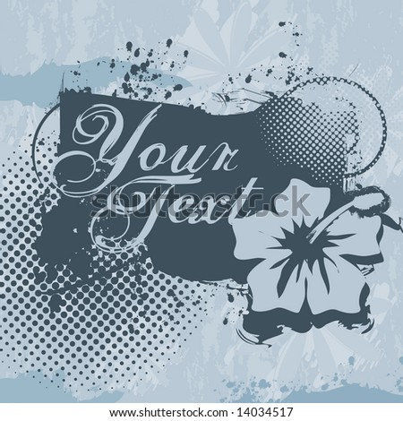 Vector grunge shield / emblem with space to add your own text; includes halftones and tropical flower design - stock vector