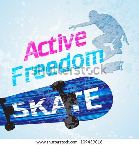Vector grunge skateboarding - stock vector