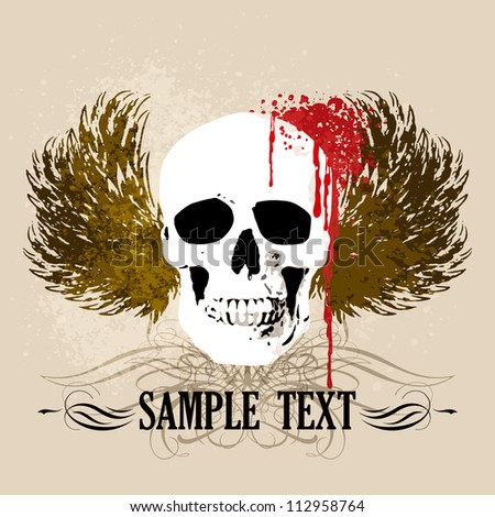 Vector Grunge Skull Background - stock vector
