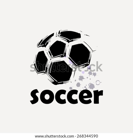 Vector Grunge Soccer Ball ( T-shirt, Poster, Banner, backdrops design )  - stock vector