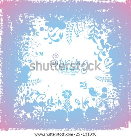 Vector grunge spring background. - stock vector