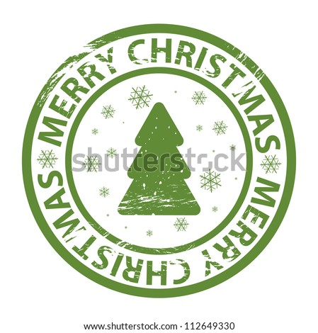Vector grunge stamp with fir tree - stock vector