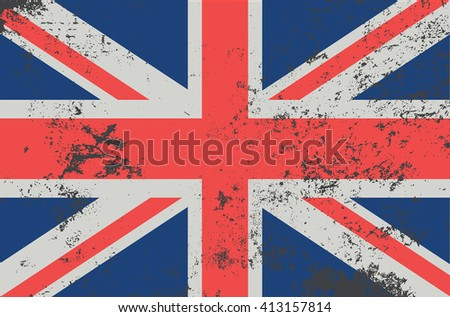 Vector grunge style Great britain state flag. Shabby design of national british flag. Symbol of United kingdom in stains. Black mourning day for the country. Flat design vector illustration template