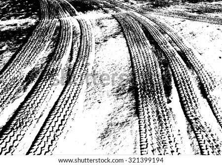 Vector grunge texture of traces from tires. Textural vector background of traces from car tires on the road, for yours design. - stock vector