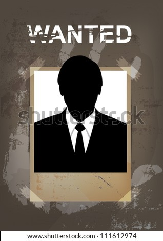 vector grunge wanted poster, murder concept - stock vector