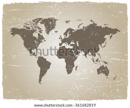 Vector grunge world map vintage world map vector de stock361682819 vector grunge world mapntage world map gumiabroncs Images