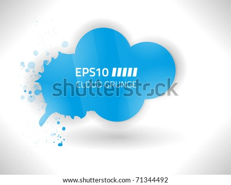 Vector grungy blue cloud against white background