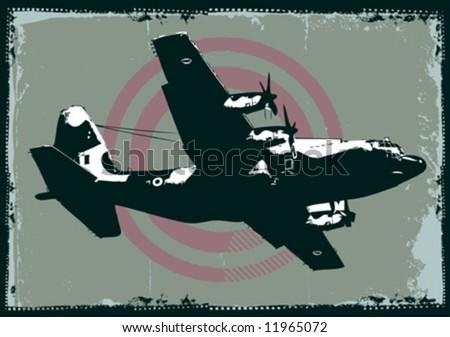 vector grungy cargo plane - stock vector