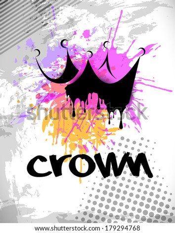 Vector grungy crown with splash design - stock vector