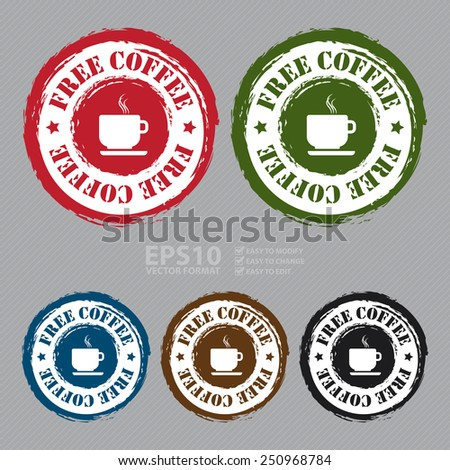 Vector : Grungy Free Coffee Sticker, Icon or Label