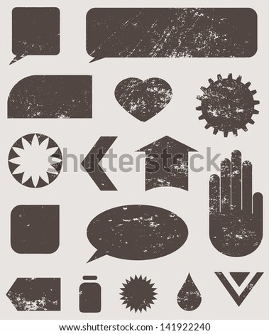 vector grungy icons, set of vector icons for all your creative projects - stock vector