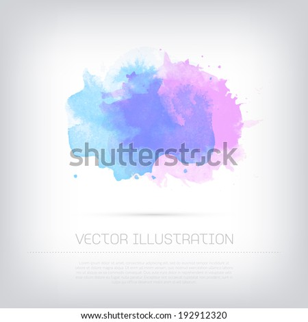Vector grungy textured blue and purple watercolor blot background - stock vector