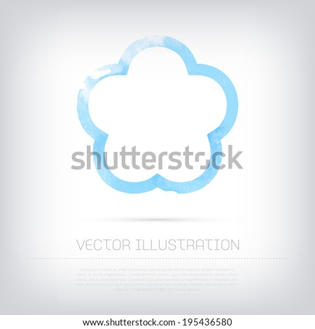 Vector grungy textured blue watercolor flower contour icon