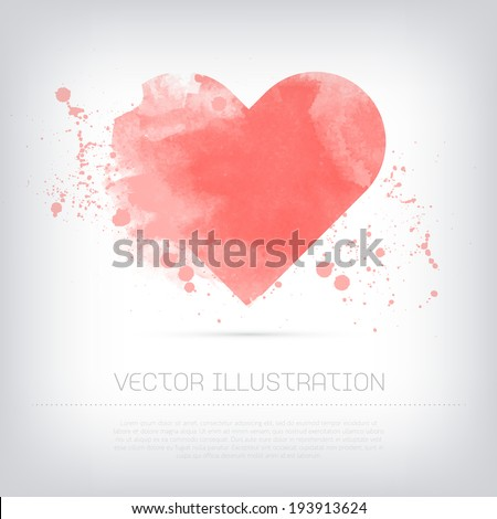 Vector grungy textured hand painted watercolor pink heart icon with paint stains and blots.  - stock vector