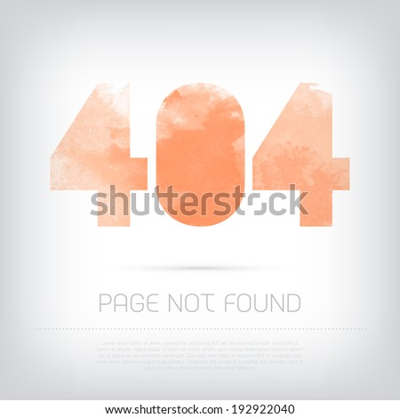 Vector grungy textured red watercolor 404 page design - stock vector