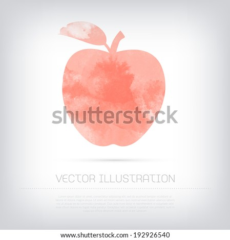 Vector grungy textured watercolor red apple icon - stock vector