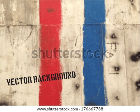 Vector grungy wall background with red and blue paint stripes - stock vector